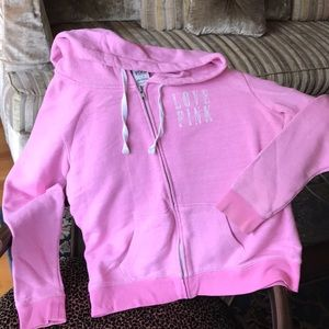 VS PINK pink zip hooded sweatshirt